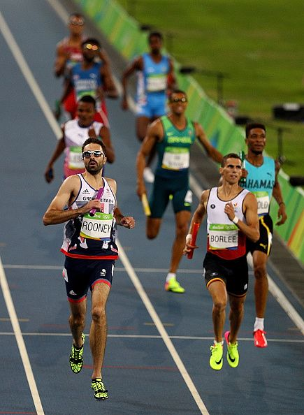Martyn Rooney of Great Britain competes in Round One of the Men's 4 x 400m Relay…