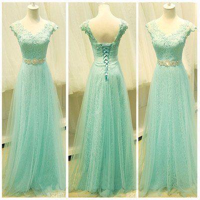 Mint lace prom dress,lace prom dress,cap sleeve prom dress,prom dress,prom dresses online