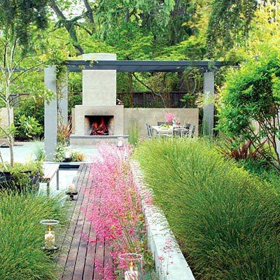 Fireplace Outdoor Shower On The Porch Add Color To A Backyard With Red Patio  Furniture! Outdoor Fireplace In The Garden. Coral Bells, Walnut Creek ...