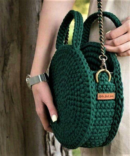 Простейший способ связать круглую сумку своими руками (с изображениями) | Сумки, связанные крючком, Вязаные сумки, Выкройки сумок