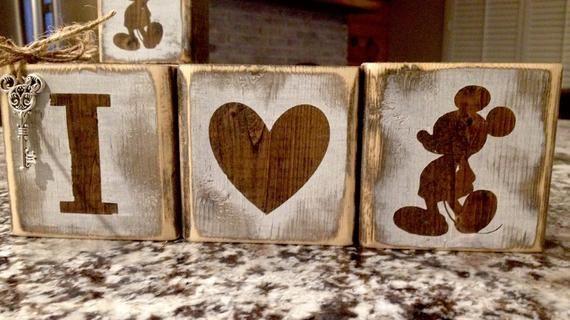 Rustic reclaimed Disney, Mickey Blocks – #Blocks #…