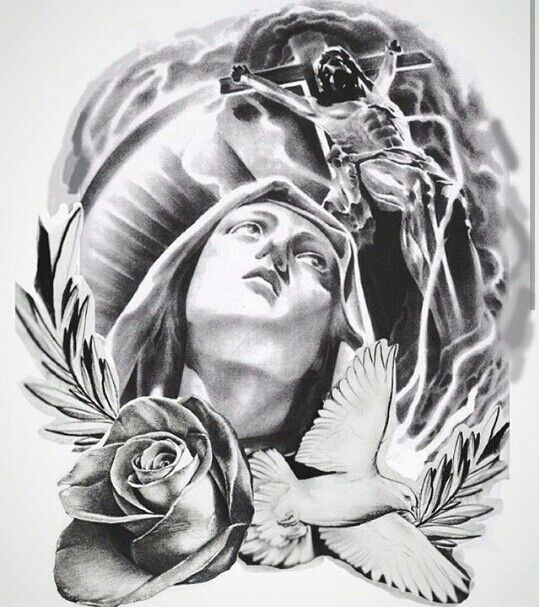 Virgin Mary Tattoo Drawing Designs