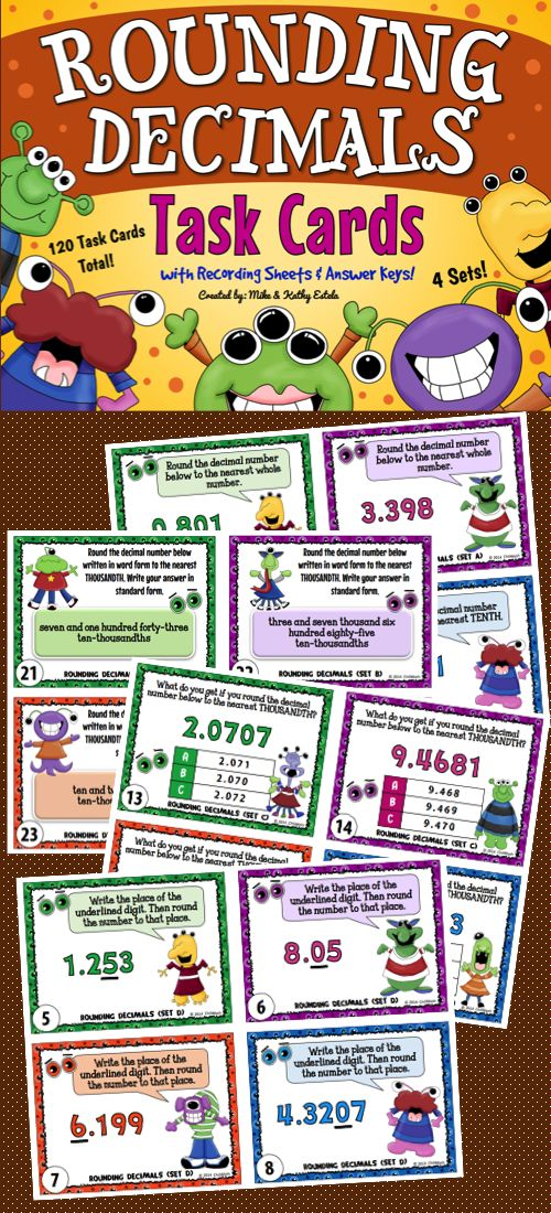 A total of one hundred twenty (120) task cards divided into four (4) sets created to help students practice their skills on rounding decimal numbers. The problems have varying levels of difficulty which will provide excellent practice to students at all skill levels.