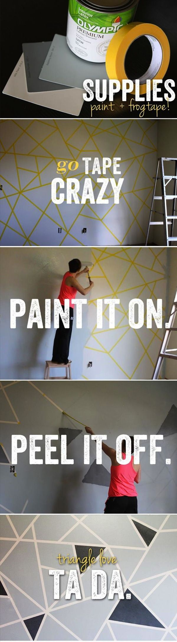 Going to do this when I move back home! Paint black first, then tape. Gray over the top!