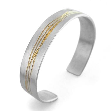 Etched silver cuff by Kate Smith