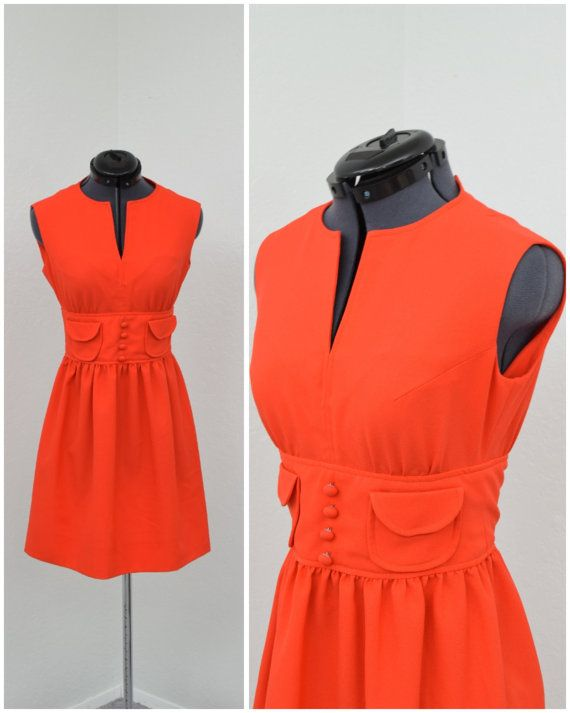 Vintage 60s Mod Orange Dress, Mod Mini Dress, Petite Dress, Short Summer Dress, Sleeveless Dress, Cute Teen Dress