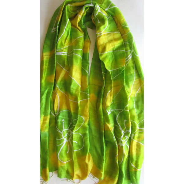 Green Natural Silk Hand Dyed Handwoven Batik Shawl Wedding Gift Wedding Accessories Thai Raw Silk Handmade Light Weight Silk Shawl For Her (€25) found on Polyvore featuring women's fashion, accessories, scarves, green silk scarves, light weight scarves, green shawl, silk shawl and lightweight scarves