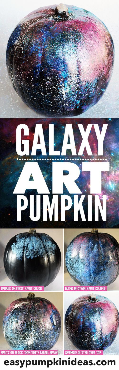 Make your own galaxy art pumpkin using paints and glitter.  A fun non-traditional, no-carve pumpkin idea!