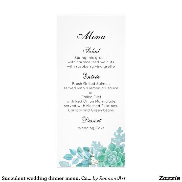 Succulent wedding dinner menu. Cactus menu party