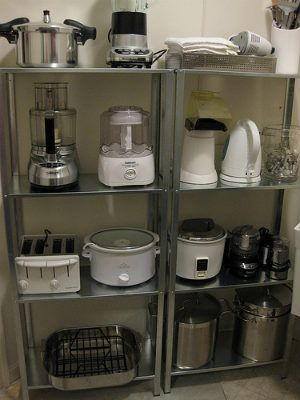 How to organize your kitchen cupboards and shelves to have clean counter space.