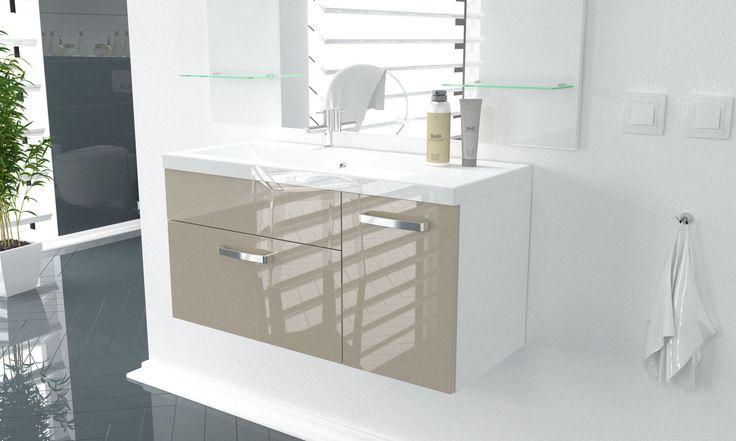 W małych łazienkach dobrze sprawdzają się pastelowe kolory, jak capppuccino. Dodatkowo lakier na wysoki połysk optycznie powiększy pomieszczenie. Szafka łazienkowa Classic od FIRNI.