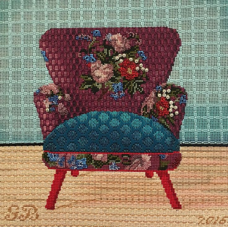Lani needlepoint chair, stitched by Ginger Brennecke. Stitch suggestions by Mary Legallet.