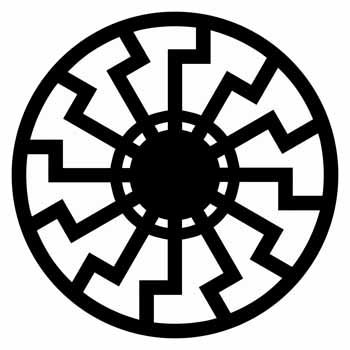 """[Could """"black sun"""" (symbol of Satan for dark magicians) just be double-X or triple-X over the Four Pillars of God? I know..this is totally twisted..] Symbol representing the black sun"""