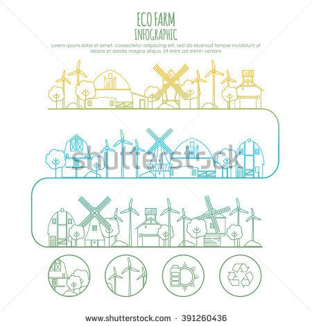 Ecology farm infographic template with thin line icons of eco farm technology, sustainability of local environment, town ecology saving. Outline design graphic image concept