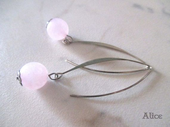 Rose quartz Dangle earrings - handmade rhodium plated earrings di ilSognodiAlice