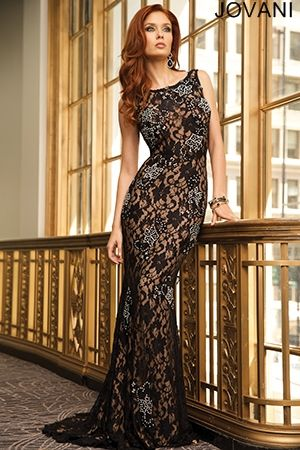 Black Lace Sleeveless Fitted Prom Gown Jovani Occasion Dresses
