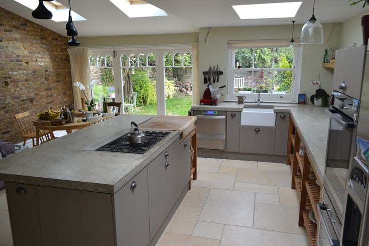 Seamless polished concrete worktops cast in situ. London project. www.arnoldskitchens.co.uk