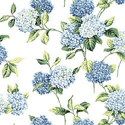 Thibaut Boat House - Hydrangea - Fabric - Blue on White