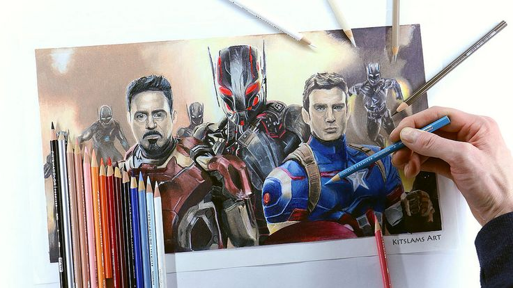 https://flic.kr/p/Uaxevs | Pencil color drawing of Avengers Age of Ultron. | Video: https://youtu.be/9P8jfekkYa8 | #avengers #drawing #marvel #illustration