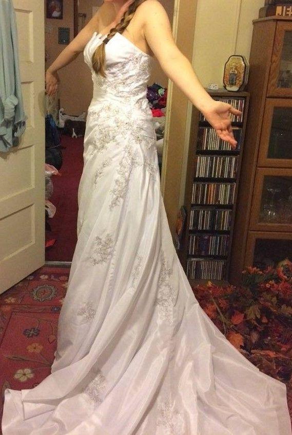 DaVinci Wedding Dress Strapless Corset Bright White Lace & Sequins