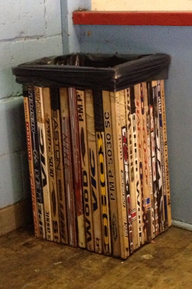 bin made from old hockey sticks - or maybe laundry hamper. Very cool!
