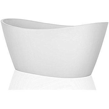 "67"" Luxury Freestanding Bathtub Acrylic Soaking SPA Tub by Empava - Modern Stand Alone Bathtubs with Custom Contemporary Design, White, A1518W - - Amazon.com"