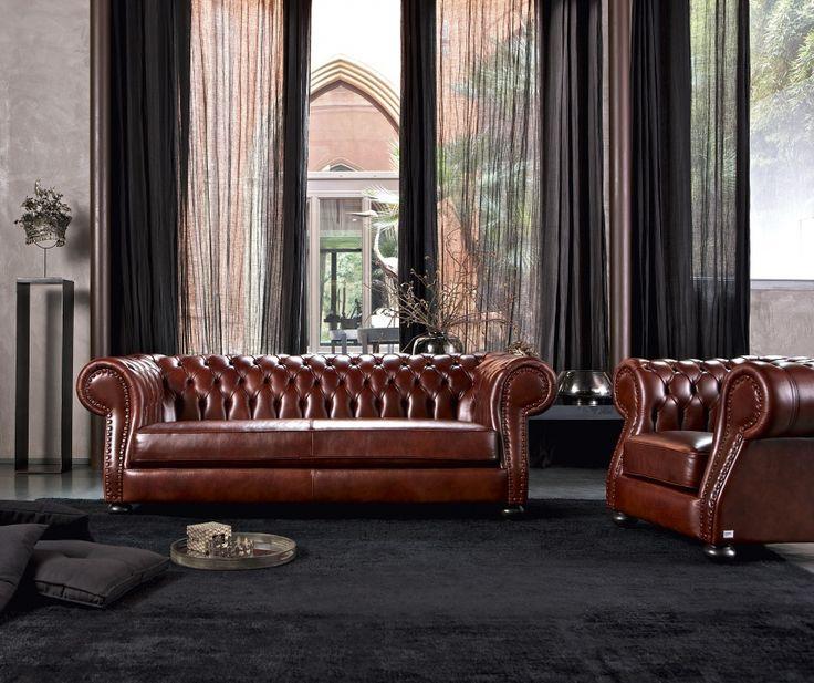 Bayron Divano in pelle classico con lavorazione Chester - collezione Emporio Doimo Salotti. http://www.doimosalotti.it