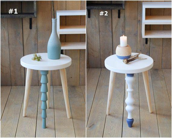 Wooden Stool White Stool Small Accent Table Side Table Wood Stool Kids Room  Decor End Table Design Stool Nursery Stool Slim