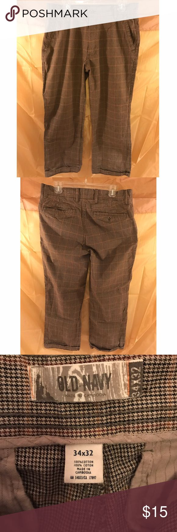 Men's Old Navy Slacks Men's Old Navy cotton chino pants for sale. Great pants with houndstooth print. Can be casual or dressy casual. Old Navy Pants Chinos & Khakis