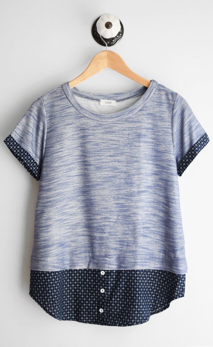 Navy short sleeve tee with jacquard contrast and rounded neckline l aus zwei Oberteilen wird eins l DIY