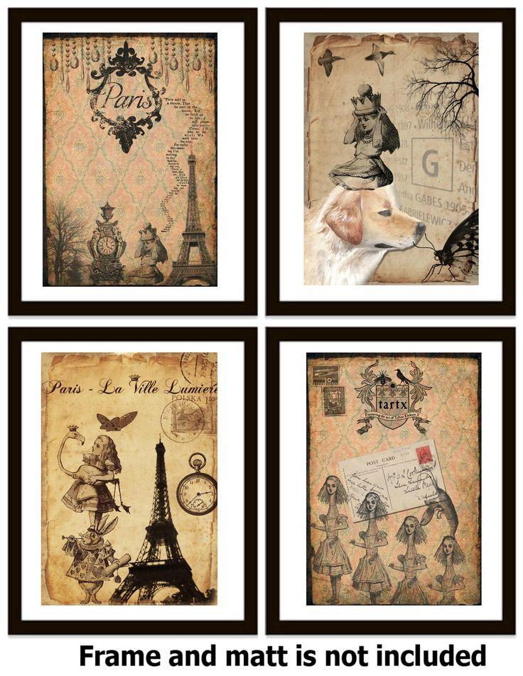 4 Vintage Old Alice In Wonderland Art Print Kids