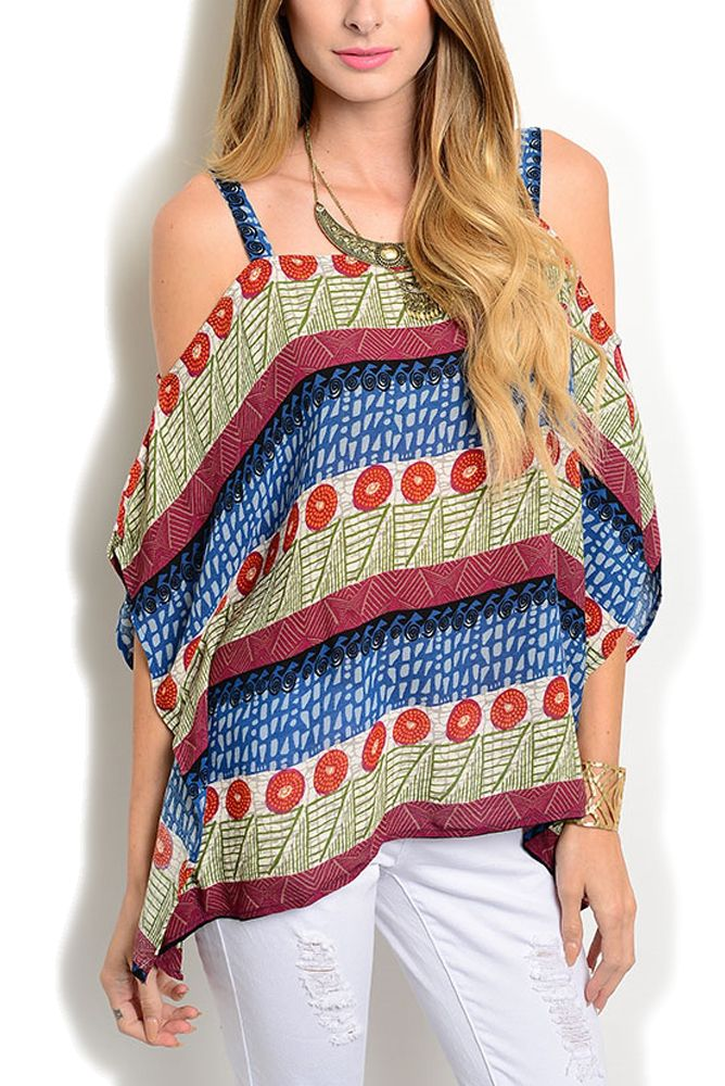DHStyles Womens Blue Cream Casual Flowy Mixed Print Cold Shoulder Poncho Top