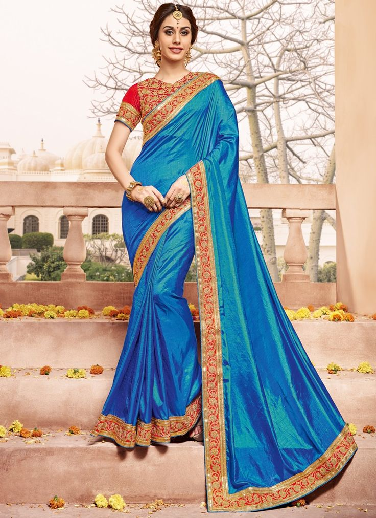 Appealing Royal Blue Coloured Silk Lace Border Work Indian Designer Saree At Best Price By Uttamvastra - Online Shopping For Women