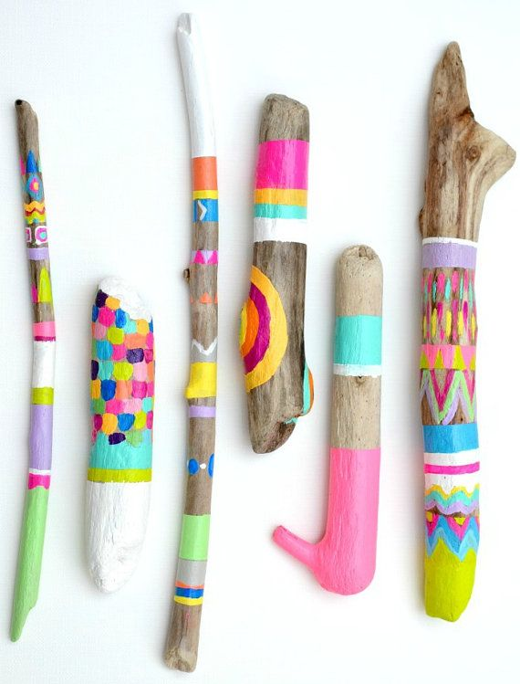Painted Sticks - 6 Piece Art Collection - Photo Props- Chevron Home, Stripe, Triangle, Arrow, Feather, Driftwood, Braided, Feather, Abstract