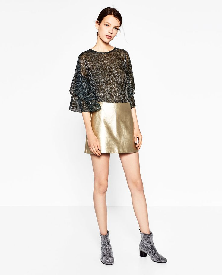 Image 1 of SHORT METALLIC SKIRT from Zara