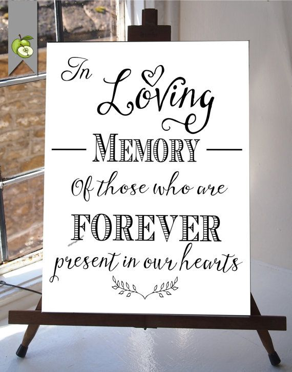 in loving memory wedding sign memorial table 8x10 and 5x7inches diy printable instant download your wedding