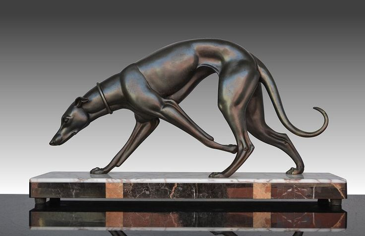 "1930.fr - I. Rochard very elegand Greyhound - Very elegant 1930's art deco Irenee Rochard sculpture of a greyhound. signed. Excellent condition. 60cmx15cmx32cm ; 23.6""x5.9""x12.6"""