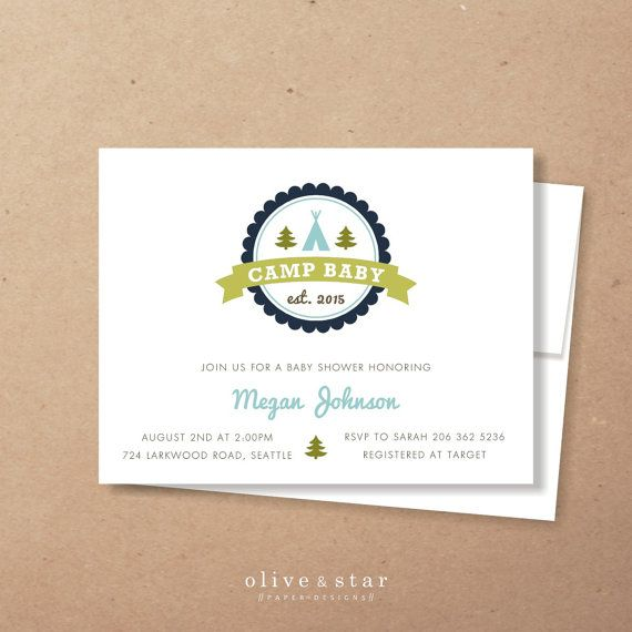 camp baby // baby shower invitation // camping by OliveandStar