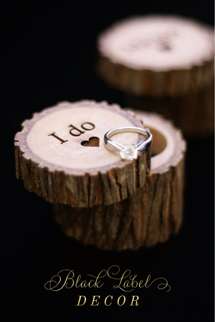 Engraved Hickory Wooden Tree Stump Ring Boxes - By Black Label Decor