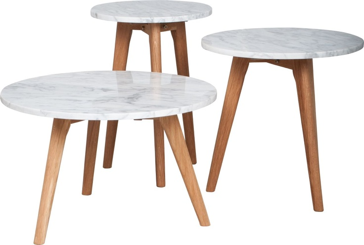 "Marble and oak wood tables ""White Stone"" by Zuiver at stealtheroom.com"