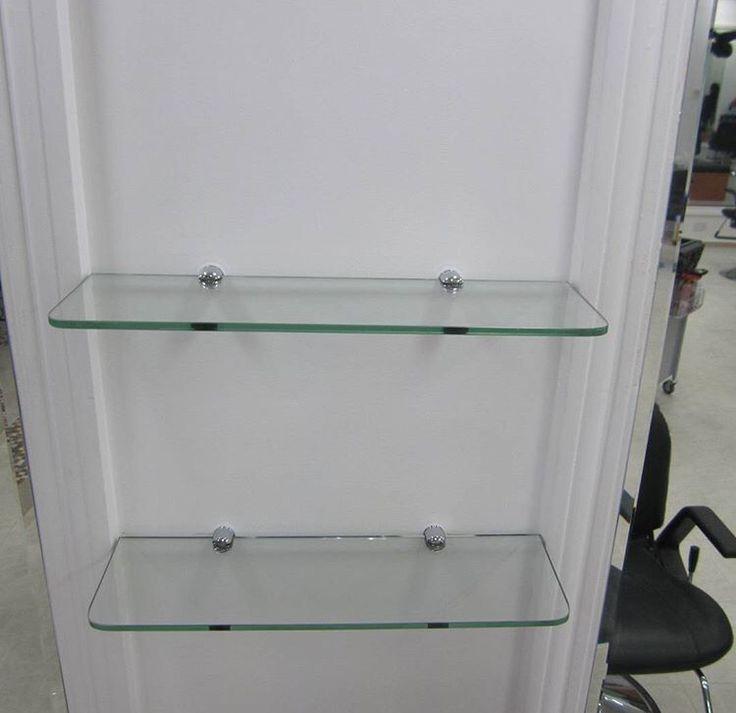 Frameless toughened glass shelves