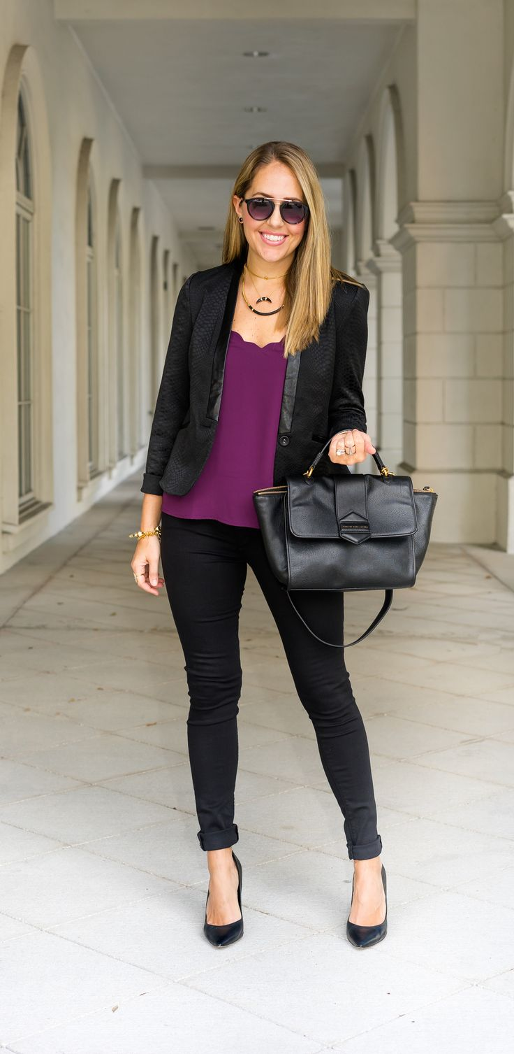 Black blazer, maroon scalloped top, black skinny jeans from Stitch Fix. #ad // Putting together an outfit has never been easier - they do all the work and ship right to your door!