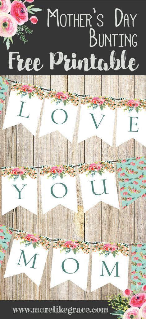 diy mother 39 s day bunting free printable mother 39 s day decorations bite sized mother 39 s day diys. Black Bedroom Furniture Sets. Home Design Ideas