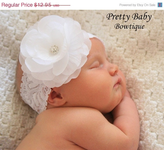 Infant Christening Headband....Baby Girl Baptism Headband (A).  10.36 f15c6108a6a