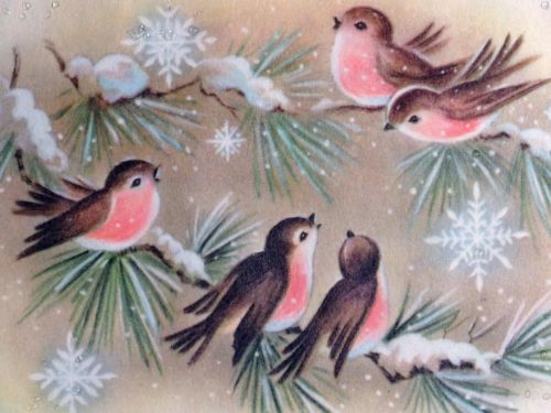 #335 50s Sweet Pink Birds in the Snow-Vintage Christmas Greeting Card
