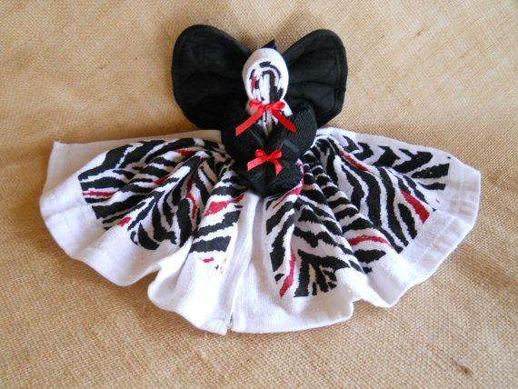 Zebra Dish Towel Angel Red White Black Angel Wall Hanging