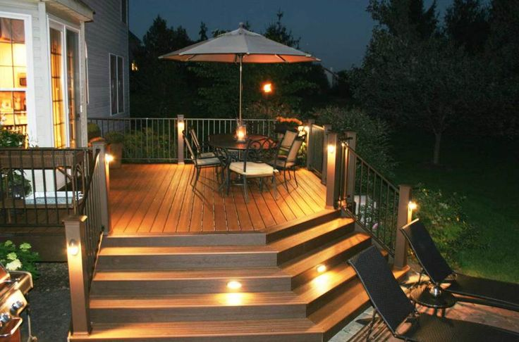 Adding outdoor deck lights to the trees & plants gives an interesting appearance to the property. Lights can also be used to highlight the flowerbeds & shrubs by surrounding them with lights in a circular pattern.