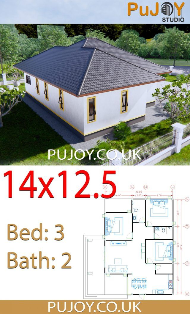 House Plans 14x12 5 With 3 Bedrooms Hip Roof Pujoy Studio Hip Roof House Plans House