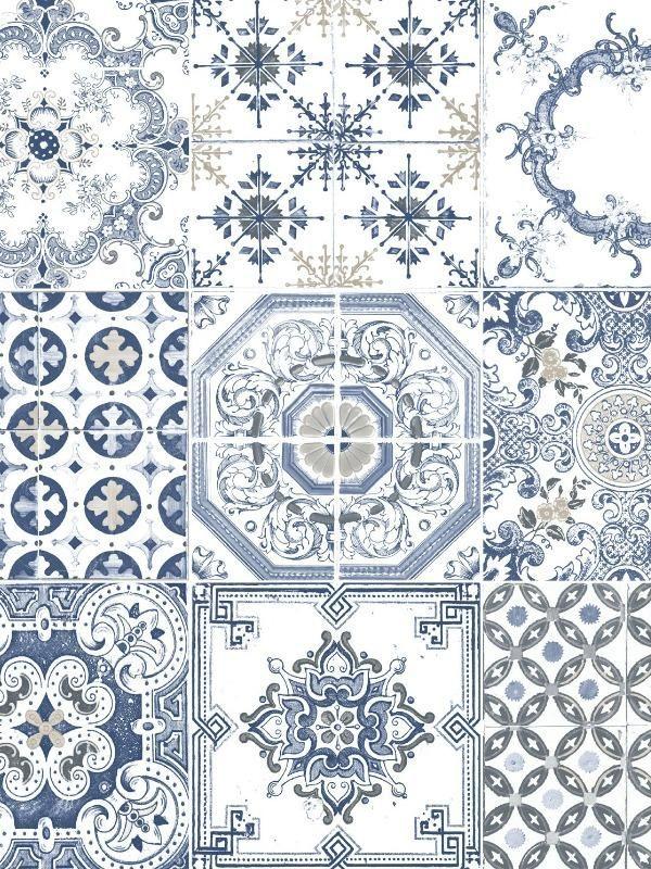 Papier Peint Vinyle Imitation Carrelage Ancien Bleu Ugepa