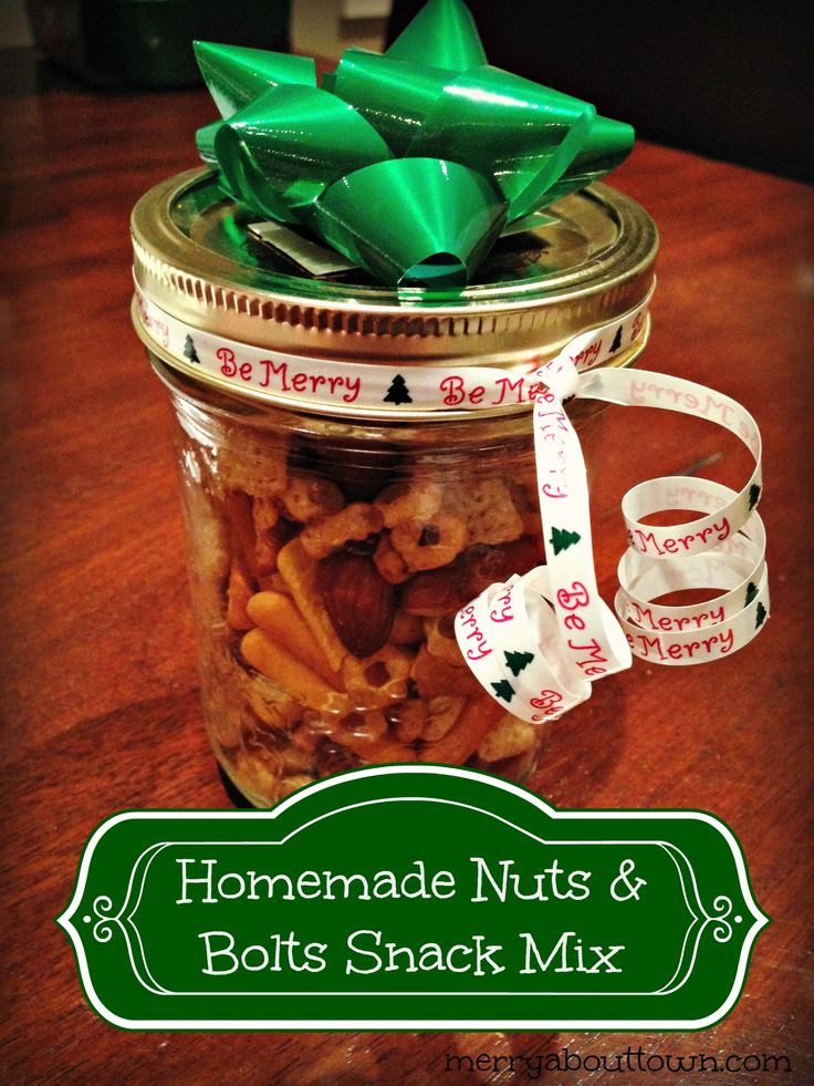 Homemade Nuts and Bolts Snack Mix recipe. Perfect for a quick and inexpensive gift! ~ MerryAboutTown